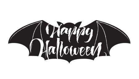 Handwritten grange lettering of Happy Halloween on bat backgrount