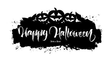 Lettering of Happy Halloween vector background.