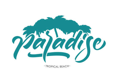 Vector lettering typography design of Paradise with palm leaves on white background