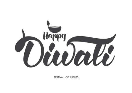 Handwritten lettering type composition of Happy Diwali with lamp. Vector illustration.