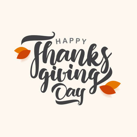 Happy Thanksgiving Day. Vector greeting card with autumn leaves Illustration