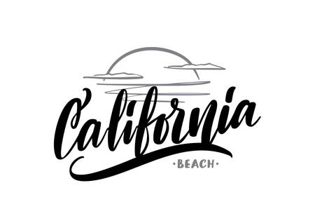 Vector hand drawn lettering composition of California Beach with sea sunset sketch Illustration