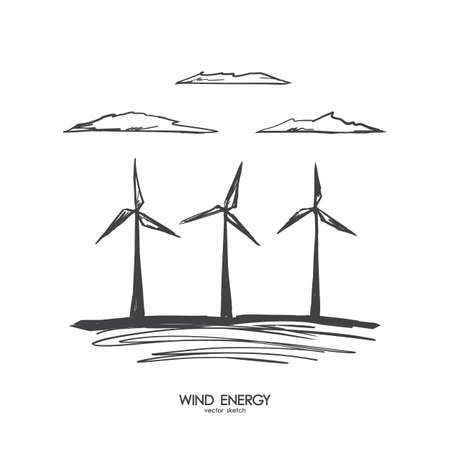 Vector illustration: Hand drawn wind energy on white background. Sketch line design