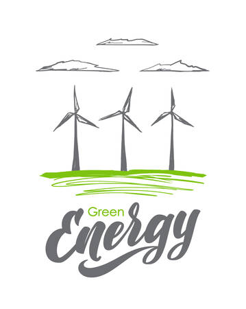 Vector illustration: Hand drawn wind mill with handwritten lettering of Green Energy. Sketch line design Illustration
