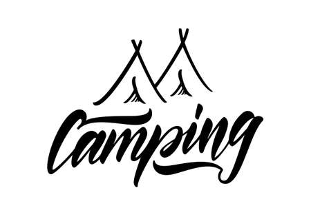 Vector illustration: Hand drawn lettering type emblem of Camping with tent.