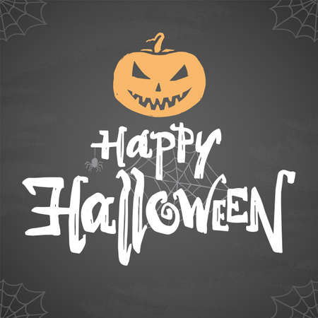 Vector poster with hand drawn type of Happy Halloween, pumpkin and spider on chalkboard background Ilustração