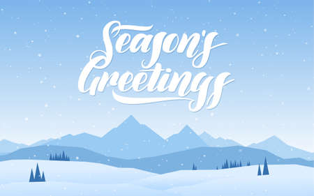 Blue mountains winter snowy landscape vector illustration with hand lettering of seasons greetings. Фото со стока - 94612830