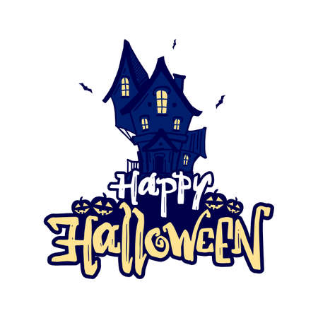Vector handwritten type lettering of Happy Halloween with hand drawn haunted house and pumpkins