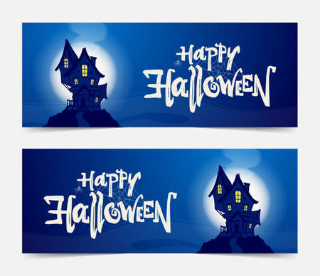 Set of vector banners with hand drawn haunted house and lettering of Happy Halloween.