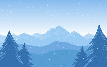 Vector illustration: Winter Hand Drawn Mountains snowy landscape Illustration