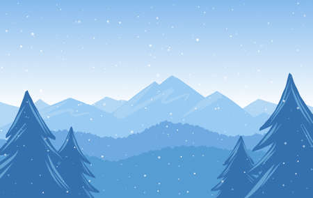 Vector illustration: Winter Hand Drawn Mountains snowy landscape 矢量图像