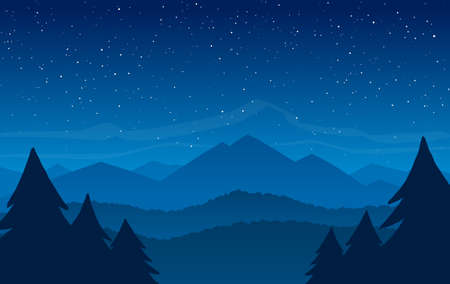 Hand Drawn Night Mountains landscape with stars on the sky Illustration