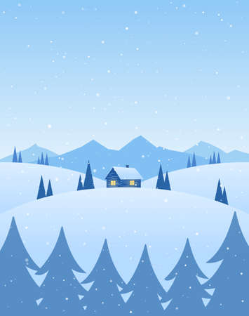 Vector illustration: Winter cartoon mountains landscape with house, pines and snowflakes.