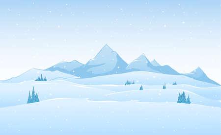 Hand drawn vector winter mountains landscape. Фото со стока - 94617038