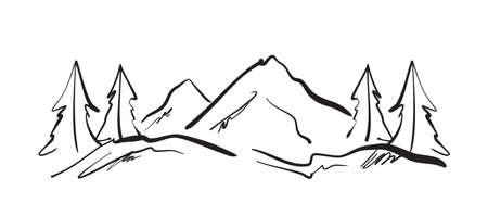 手描きの山々は、丘や松と風景をスケッチします。  イラスト・ベクター素材