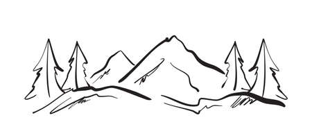 Hand drawn Mountains sketch landscape with hills and pines.