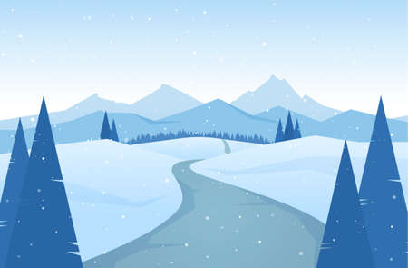 Vector illustration: Winter snowy Mountains landscape with road, pines and hills.