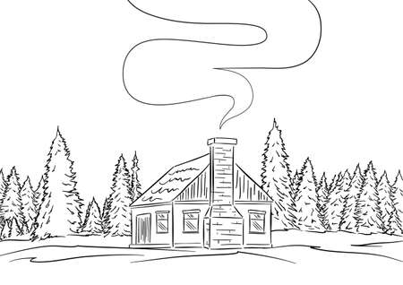 Vector illustration: Hand drawn landscape with house and pine forest. Sketch line design Фото со стока - 94666793