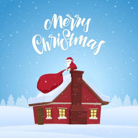 산타 클로스는 집안에서 선물로 가득 찬 무거운 가방을 당긴다. 만화 장면. 메리 크리스마스의 손 글자.