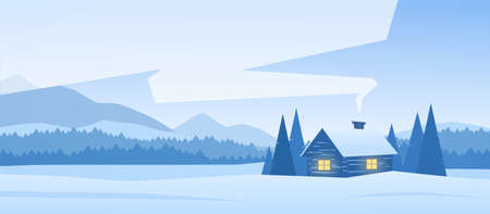 Winter snowy mountains landscape with house and smoke from the chimney. Illustration