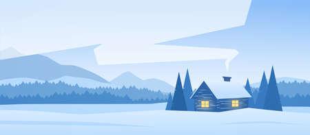 Winter verschneite Berge Landschaft mit Haus und Rauch aus dem Schornstein Standard-Bild - 94672603