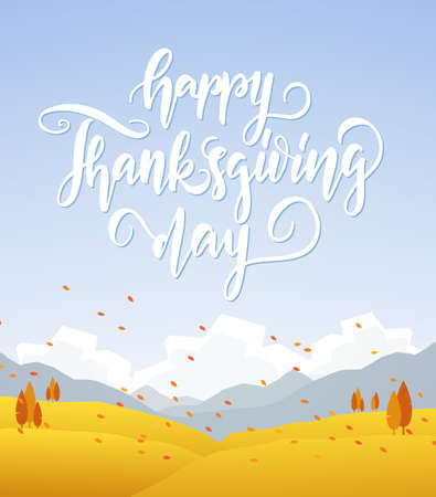 Vector illustration: Fall hillside landscape with handwritten lettering of Happy Thanksgiving Day Фото со стока - 94668816