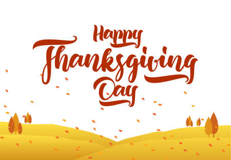 Vector greeting card with hand lettering of Happy Thanksgiving Day and graphic autumn landscape