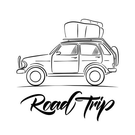 Hand drawn travel car with luggage on the roof and handwritten type lettering of Road Trip. Sketch line design vector illustration. Stock Illustratie