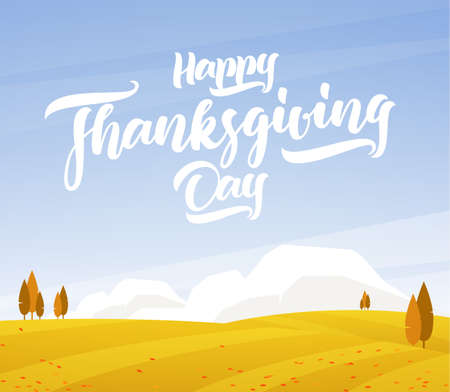 Autumn landscape with fields and hand lettering of Happy Thanksgiving Day. Ilustrace