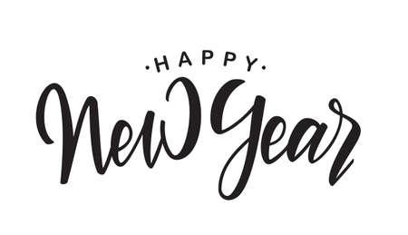 Handwritten elegant brush lettering of Happy New Year on white background