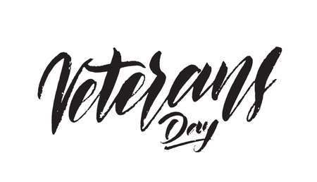 Vector illustration: Handwritten lettering of Veterans Day Stock fotó