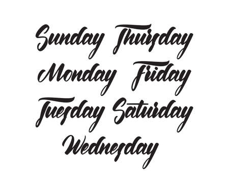 Vector Handwritten lettering of all days of the week