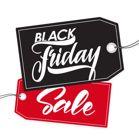 Handwritten type lettering of Black Friday Sale on tags background