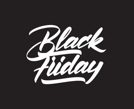 Vector handwritten type lettering of Black Friday on dark background. Typography design.