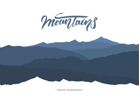 手書きのレタリングエンブレムを持つ抽象的な山の背景。風景のシルエット。