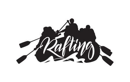 Illustration vectorielle: inscription manuscrite sur la silhouette du fond de l'équipe de rafting. Conception d'emblème de typographie Banque d'images - 94671611