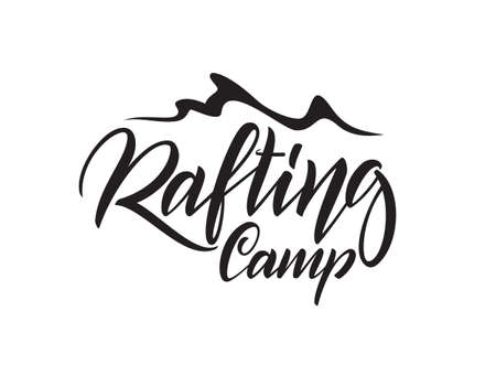 Vector hand lettering emblem of Rafting Camp with wave on white background.