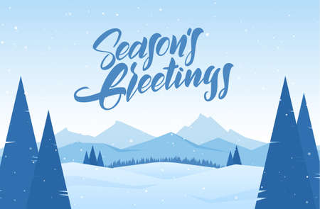 Vector illustration. Winter snowy landscape with hand drawn lettering of Seasons Greetings, pines and mountains