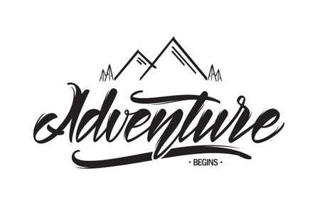 Vector hand drawn emblem with mountains and handwritten lettering of Adventure begins Фото со стока - 94689474