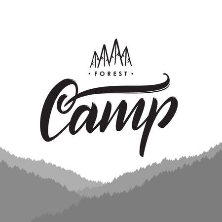 Hand drawn type emblem of Camp with pine forest.