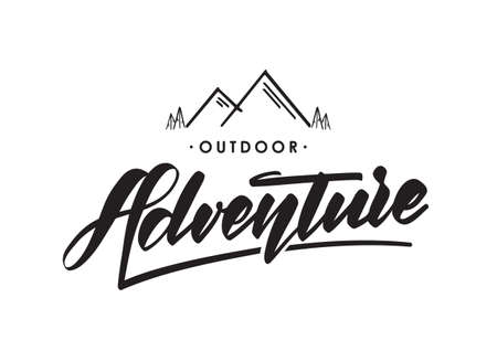 Vector hand drawn emblem with mountains and handwritten lettering of Outdoor Adventure