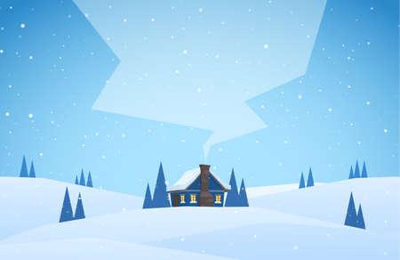 Winter verschneite Landschaft mit Cartoon Haus mit Hügeln und Rauch vom Schornstein Standard-Bild - 94689478