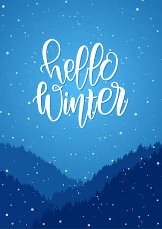 Handwritten modern brush lettering of Hello Winter on blue snowy forest background. Illusztráció