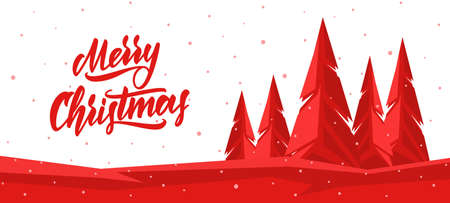 Vector winter banner with Hand lettering of Merry Christmas and graphic pine forest