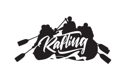 Hand getekend belettering op silhouet van raften team achtergrond. Typografie embleemontwerp
