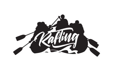 Hand drawn lettering on Silhouette of rafting team background. Typography emblem design