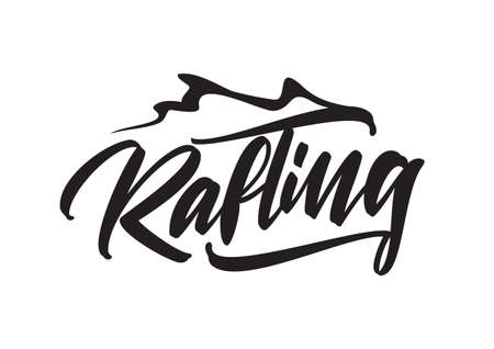 A Vector hand lettering type emblem of Rafting with wave on white background. Ilustrace