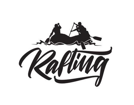 ●ボートでチームのシルエットを持つラフティングの手描きレタリングタイプ。タイポグラフィエンブレムデザイン
