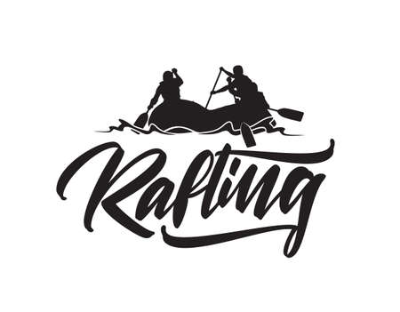Hand drawn lettering type of Rafting with silhouette of team in boat. Typography emblem design