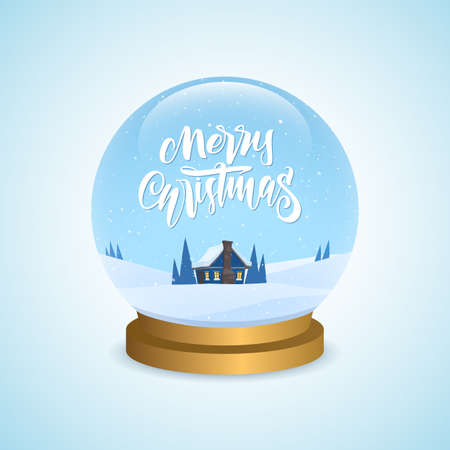 Winter greeting snow globe with cartoon house and handwritten type lettering of Merry Christmas Illustration